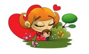 Äiti halaa lasta