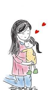 Lapsi äidin sylissä