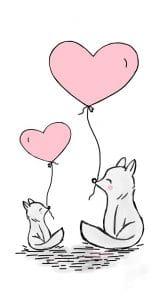 Kaksi kettua sydän ilmapallojen kanssa