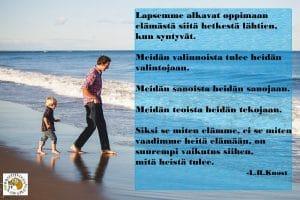 Aikuinen johtaa lapsi kävelee perässä